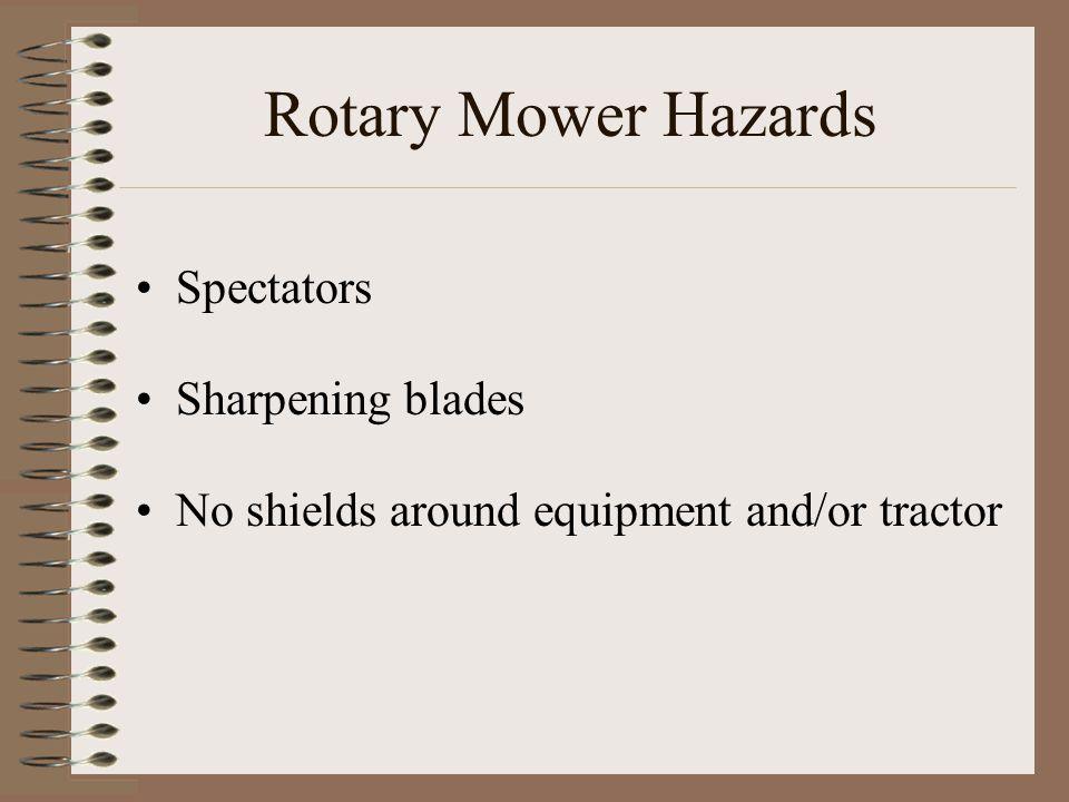 Rotary Mower Hazards Spectators Sharpening blades No shields around equipment and/or tractor