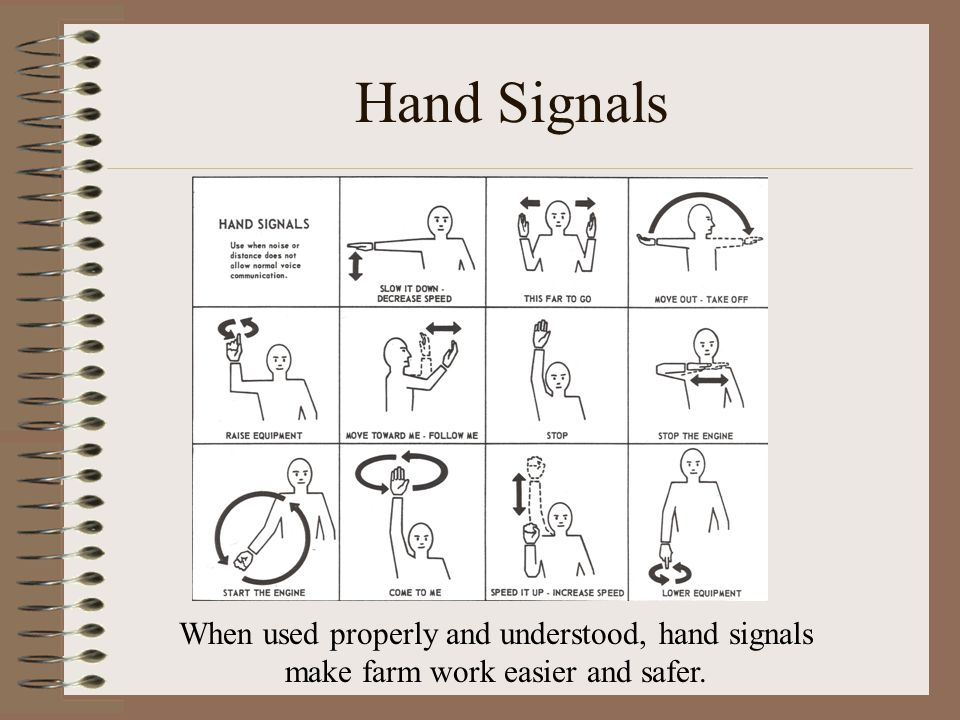 Hand Signals When used properly and understood, hand signals make farm work easier and safer.