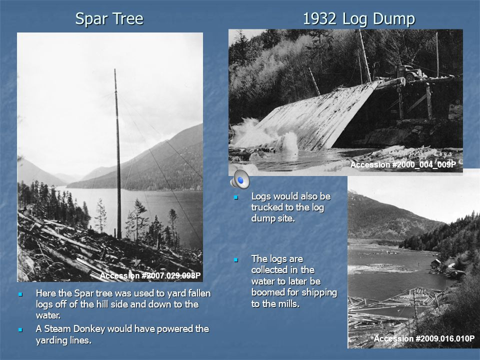 1932 Log Dump Logs would also be trucked to the log dump site.