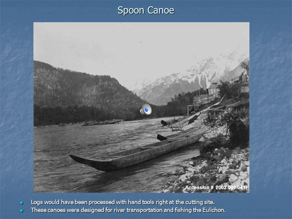 Spoon Canoe Logs would have been processed with hand tools right at the cutting site.