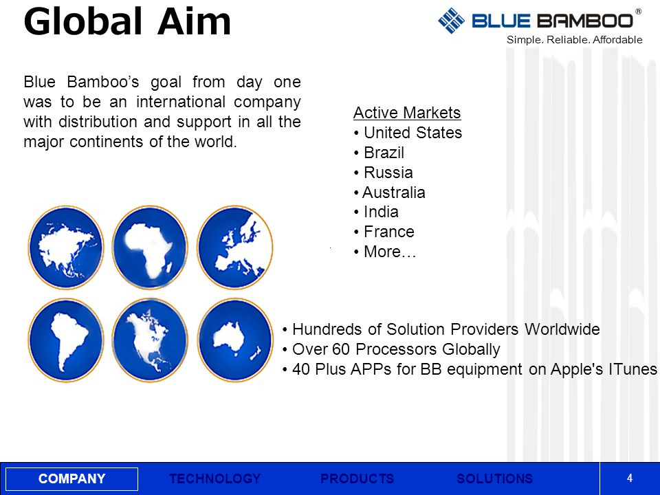 Simple. Reliable. Affordable COMPANY Global Aim 4 PRODUCTSSOLUTIONSTECHNOLOGY Blue Bamboo's goal from day one was to be an international company with