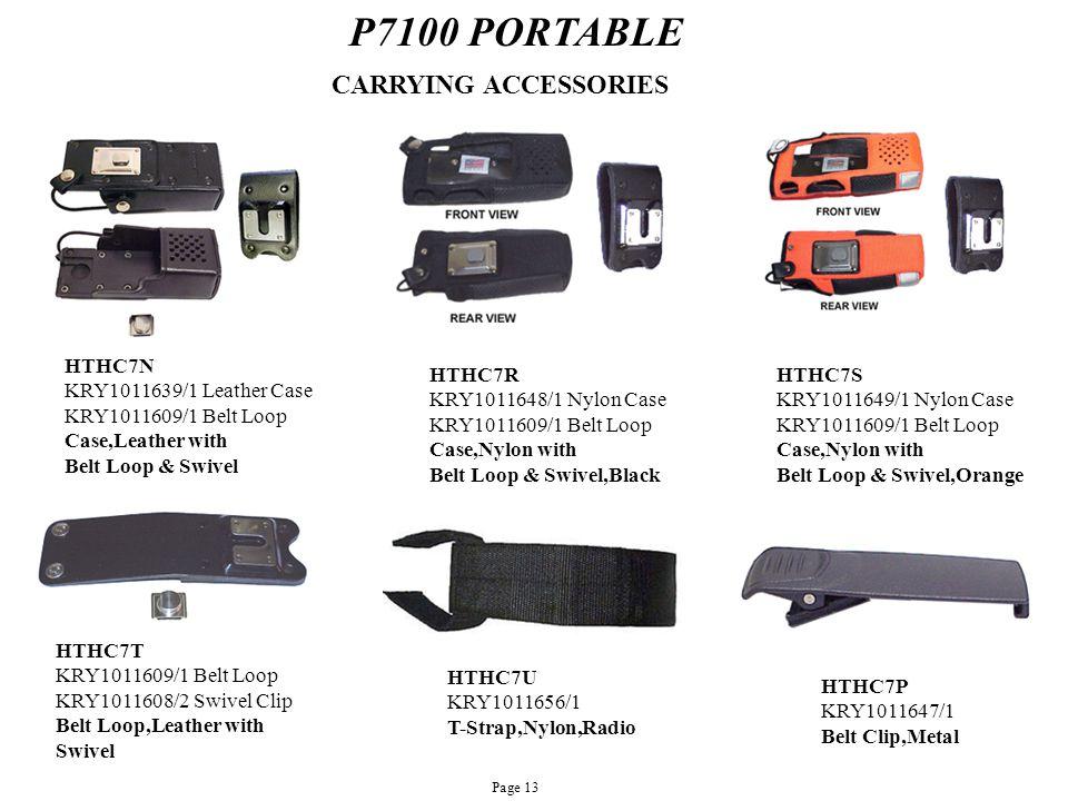 P7100 PORTABLE HTHC7N KRY1011639/1 Leather Case KRY1011609/1 Belt Loop Case,Leather with Belt Loop & Swivel HTHC7R KRY1011648/1 Nylon Case KRY1011609/