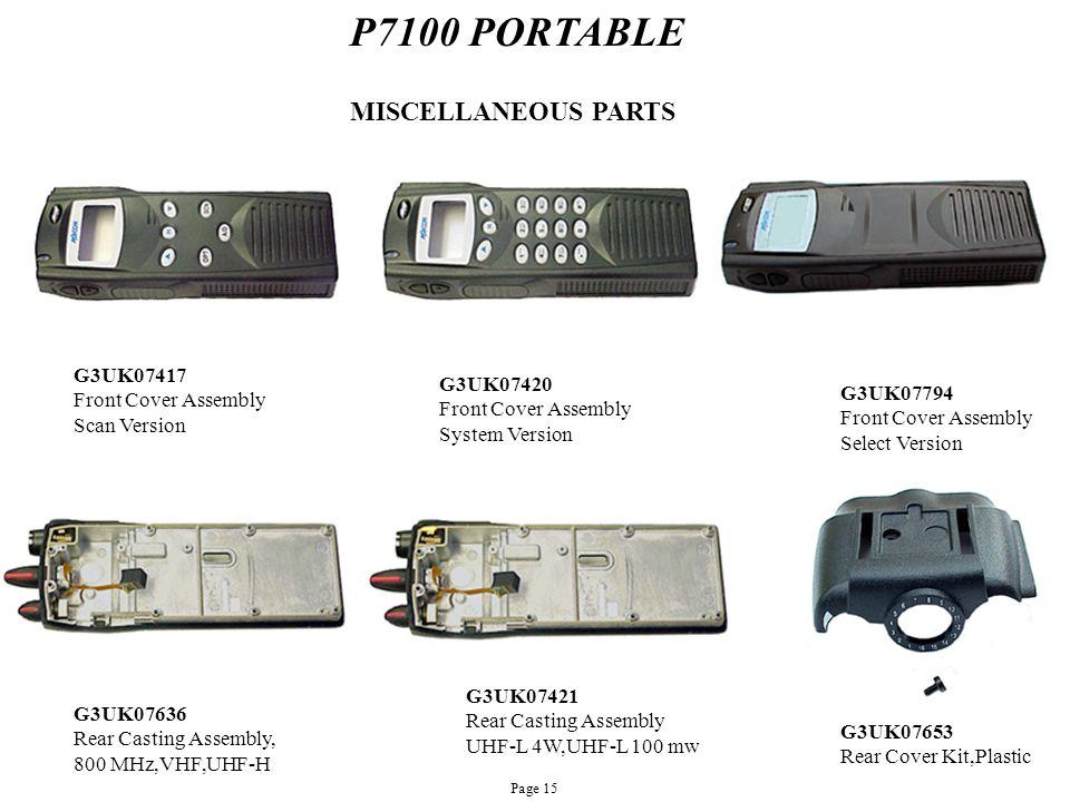 P7100 PORTABLE MISCELLANEOUS PARTS G3UK07417 Front Cover Assembly Scan Version G3UK07420 Front Cover Assembly System Version G3UK07794 Front Cover Ass