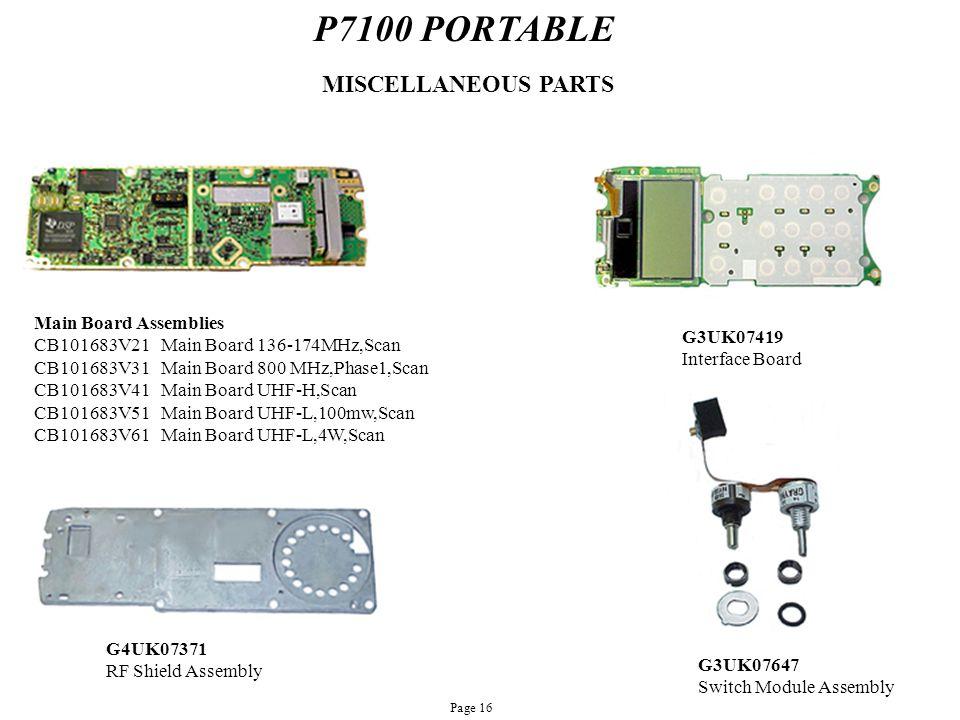 P7100 PORTABLE Main Board Assemblies CB101683V21 Main Board 136-174MHz,Scan CB101683V31 Main Board 800 MHz,Phase1,Scan CB101683V41 Main Board UHF-H,Sc