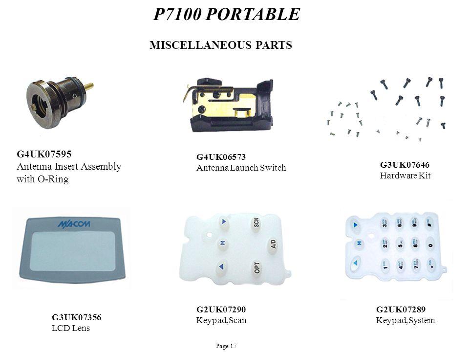 P7100 PORTABLE G4UK07595 Antenna Insert Assembly with O-Ring MISCELLANEOUS PARTS G3UK07646 Hardware Kit G3UK07356 LCD Lens G2UK07290 Keypad,Scan G4UK0