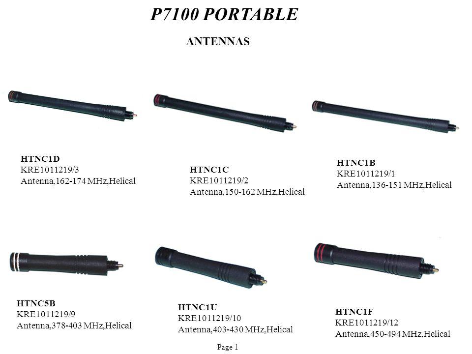 P7100 PORTABLE HTNC1B KRE1011219/1 Antenna,136-151 MHz,Helical HTNC5B KRE1011219/9 Antenna,378-403 MHz,Helical HTNC1D KRE1011219/3 Antenna,162-174 MHz