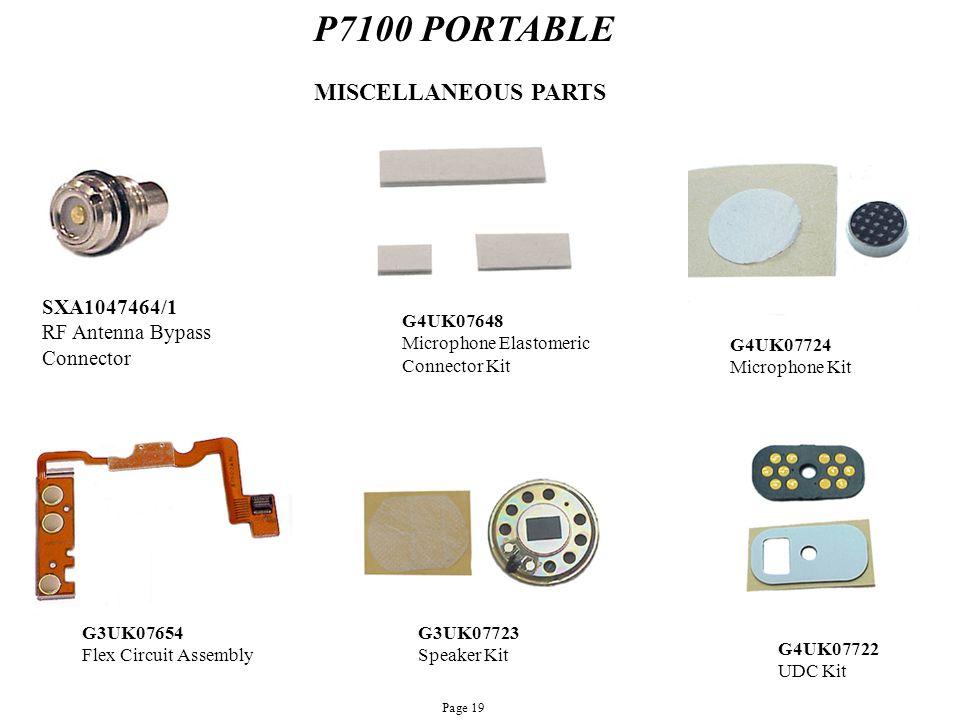 P7100 PORTABLE SXA1047464/1 RF Antenna Bypass Connector MISCELLANEOUS PARTS G4UK07724 Microphone Kit G3UK07654 Flex Circuit Assembly G3UK07723 Speaker