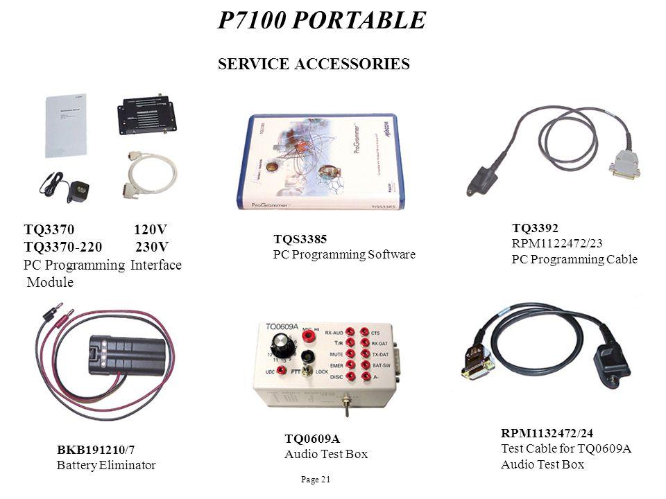 P7100 PORTABLE TQ3370 120V TQ3370-220 230V PC Programming Interface Module SERVICE ACCESSORIES TQS3385 PC Programming Software TQ3392 RPM1122472/23 PC