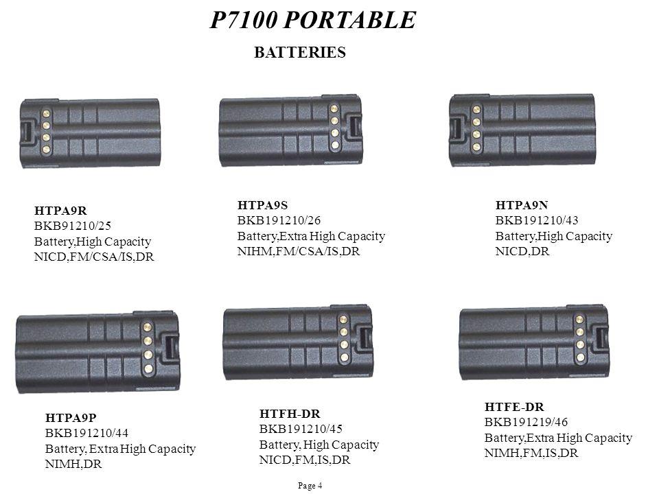 P7100 PORTABLE HTPA9R BKB91210/25 Battery,High Capacity NICD,FM/CSA/IS,DR HTPA9N BKB191210/43 Battery,High Capacity NICD,DR HTPA9S BKB191210/26 Batter