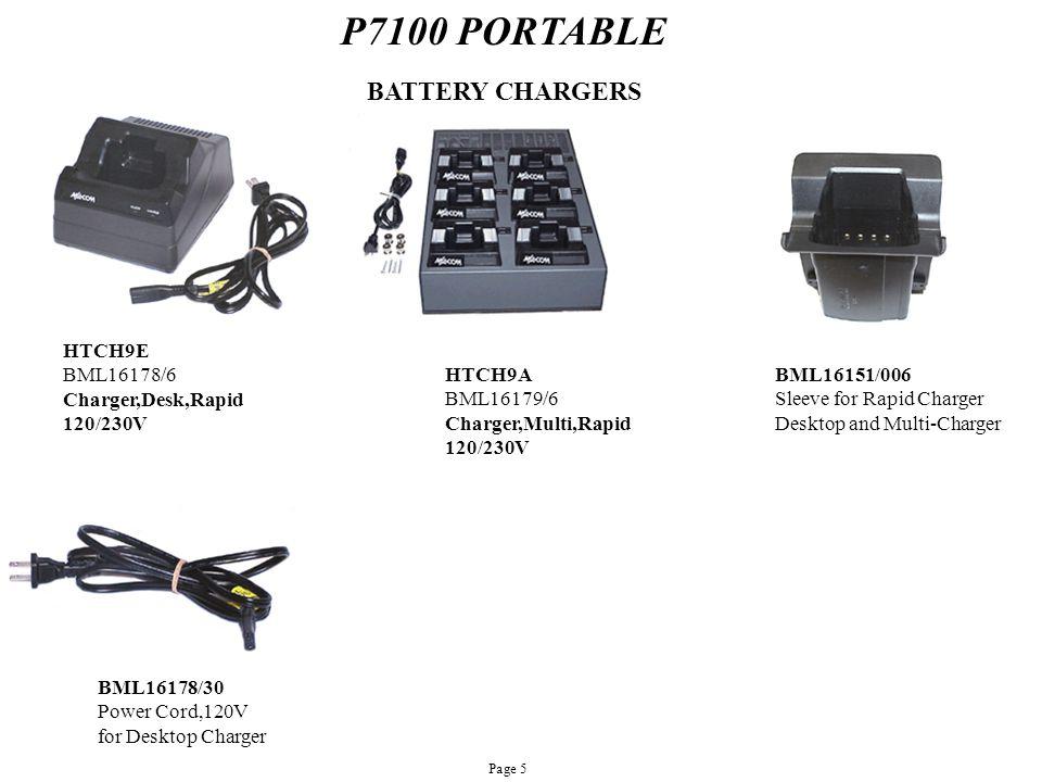 P7100 PORTABLE HTCH9E BML16178/6 Charger,Desk,Rapid 120/230V HTCH9A BML16179/6 Charger,Multi,Rapid 120/230V BML16151/006 Sleeve for Rapid Charger Desk
