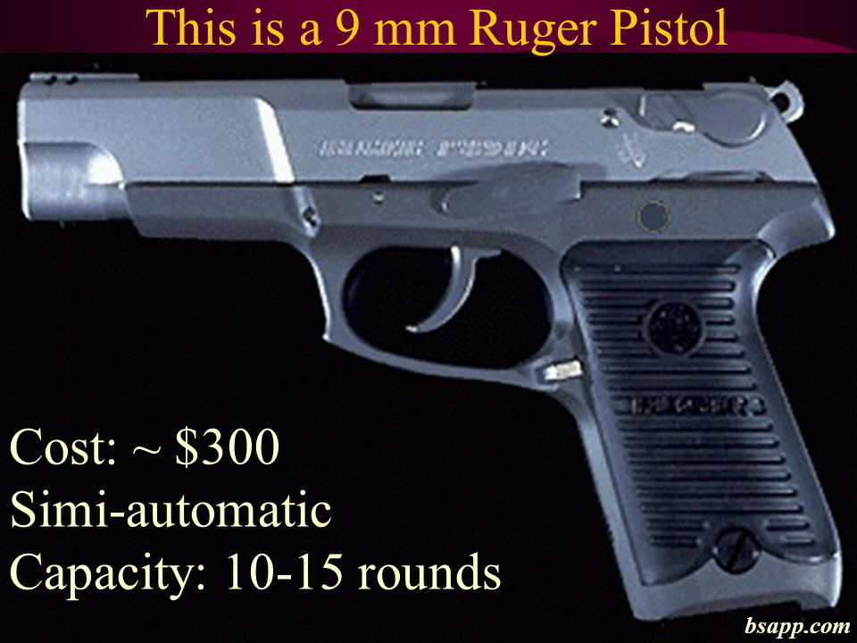 This is a 9 mm Ruger Pistol Cost: ~ $300 Simi-automatic Capacity: 10-15 rounds bsapp.com