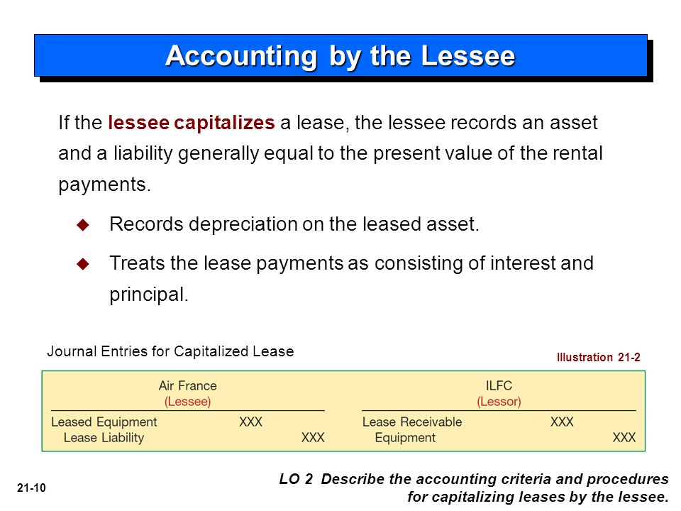 21-10 If the lessee capitalizes a lease, the lessee records an asset and a liability generally equal to the present value of the rental payments.  