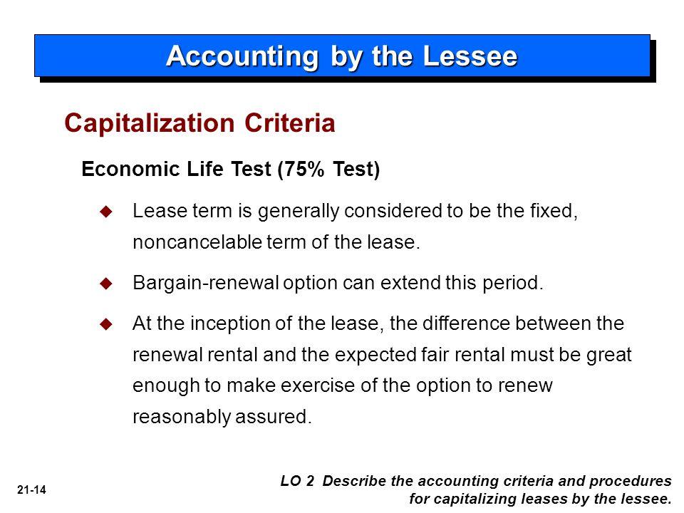 21-14 Accounting by the Lessee Economic Life Test (75% Test)   Lease term is generally considered to be the fixed, noncancelable term of the lease.