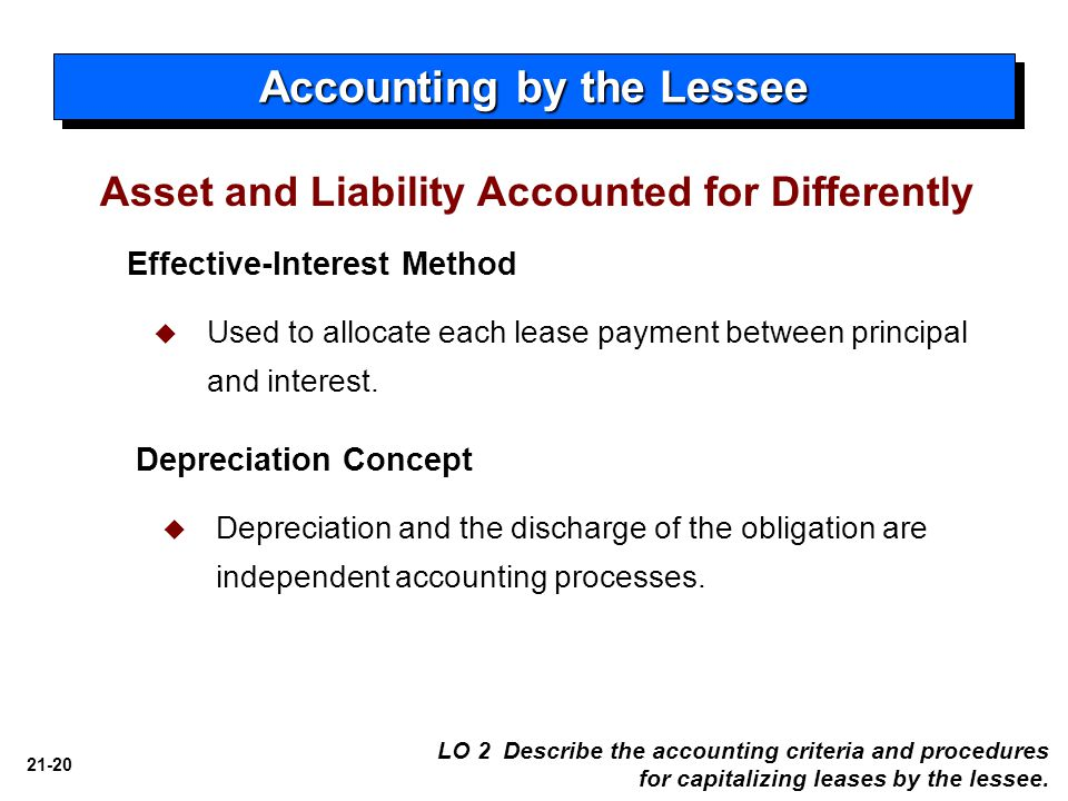 21-20 Accounting by the Lessee Effective-Interest Method   Used to allocate each lease payment between principal and interest. Depreciation Concept