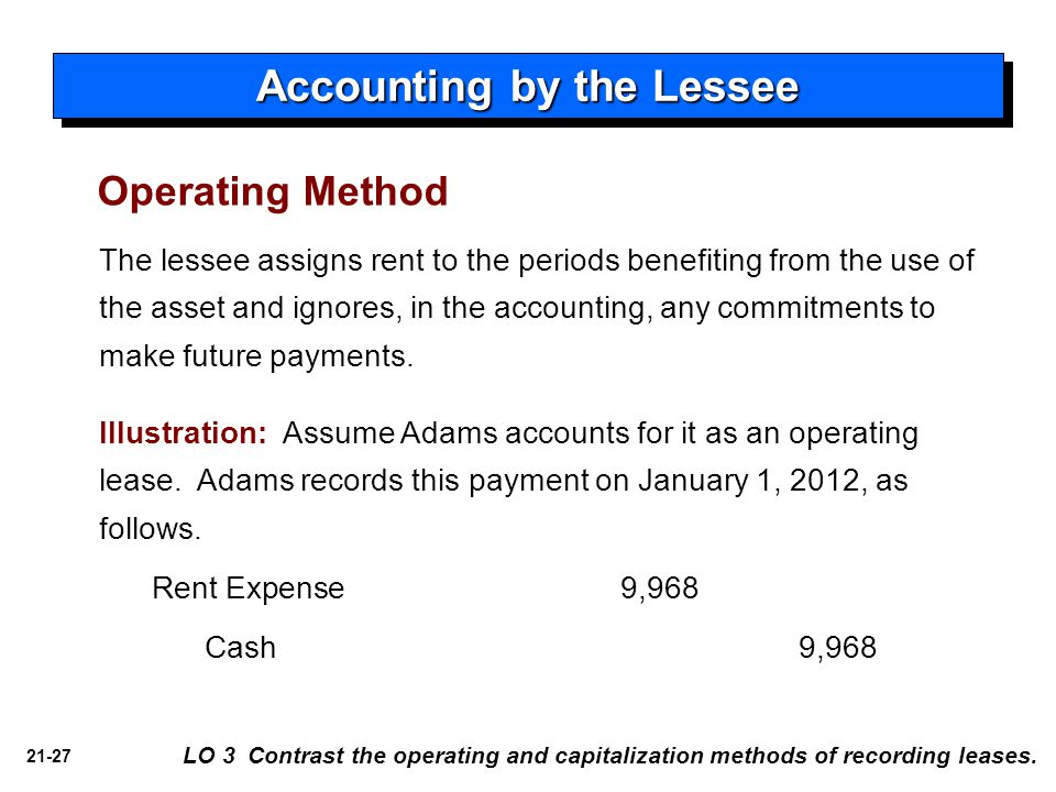 21-27 LO 3 Contrast the operating and capitalization methods of recording leases. Accounting by the Lessee Operating Method The lessee assigns rent to