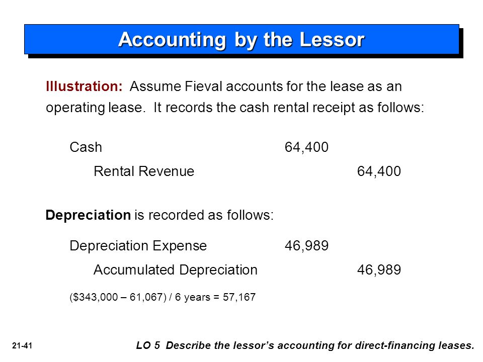 21-41 Illustration: Assume Fieval accounts for the lease as an operating lease. It records the cash rental receipt as follows: Accounting by the Lesso