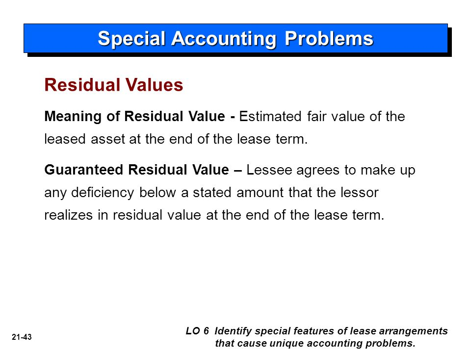 21-43 Meaning of Residual Value - Estimated fair value of the leased asset at the end of the lease term. Guaranteed Residual Value – Lessee agrees to