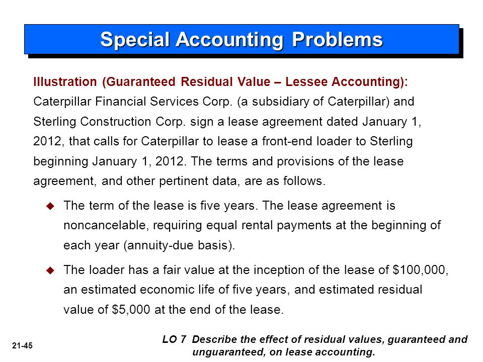 21-45 Illustration (Guaranteed Residual Value – Lessee Accounting): Caterpillar Financial Services Corp. (a subsidiary of Caterpillar) and Sterling Co