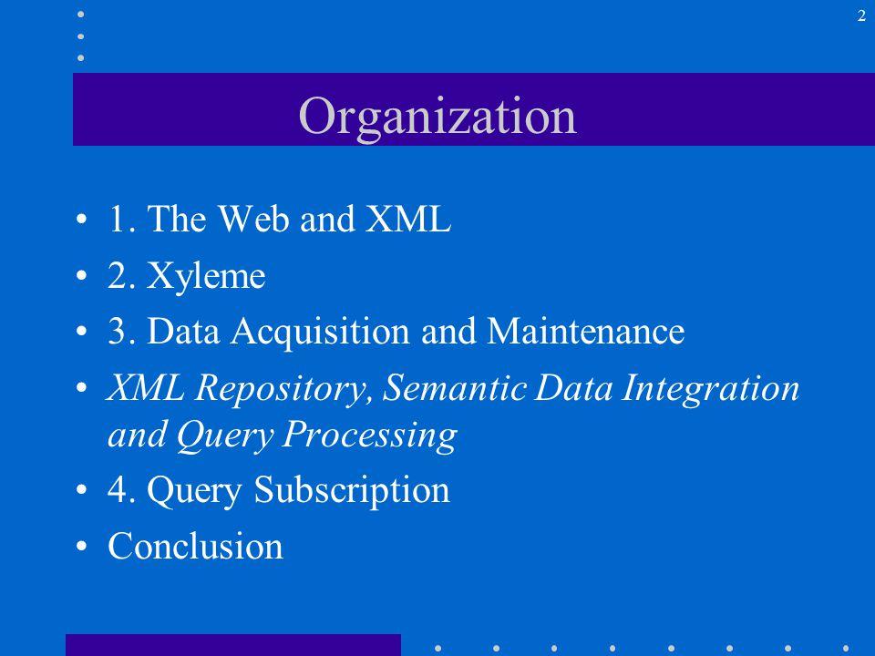 2 Organization 1. The Web and XML 2. Xyleme 3.