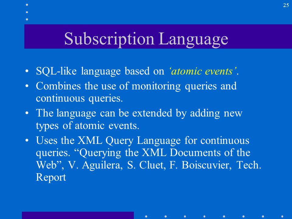 25 Subscription Language SQL-like language based on 'atomic events'.