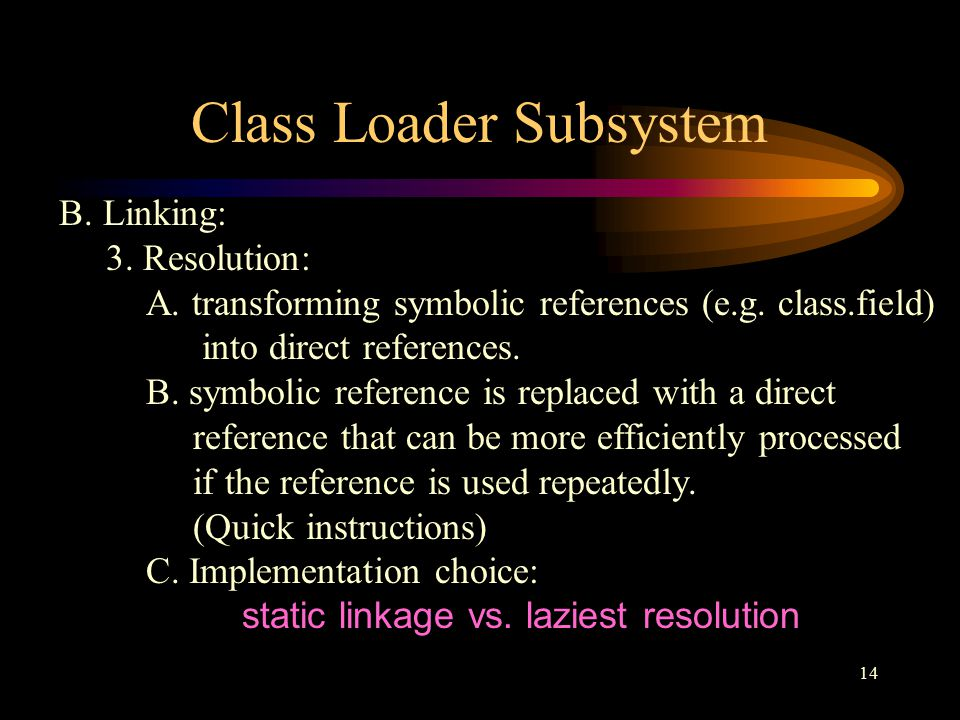 14 Class Loader Subsystem B. Linking: 3. Resolution: A.