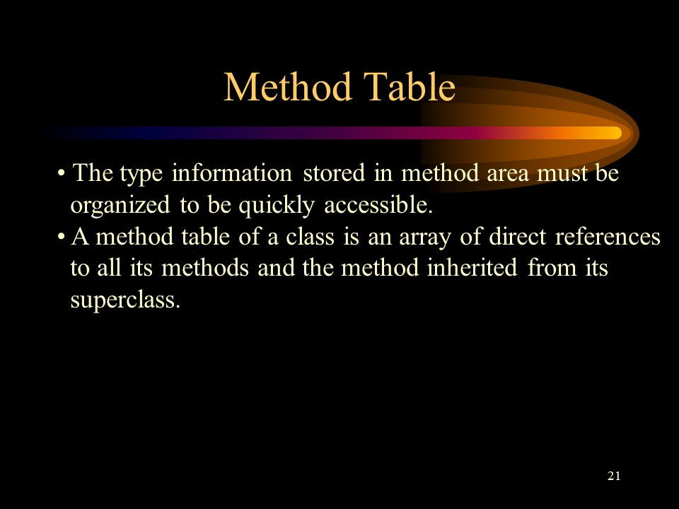 21 Method Table The type information stored in method area must be organized to be quickly accessible.