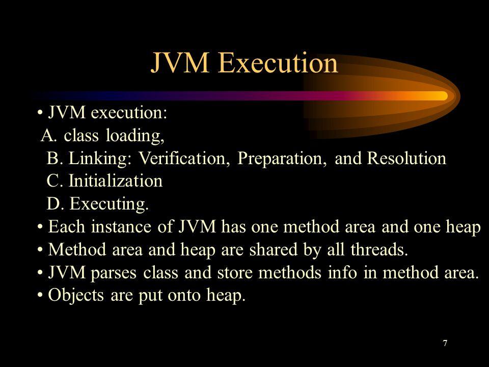 7 JVM Execution JVM execution: A. class loading, B.