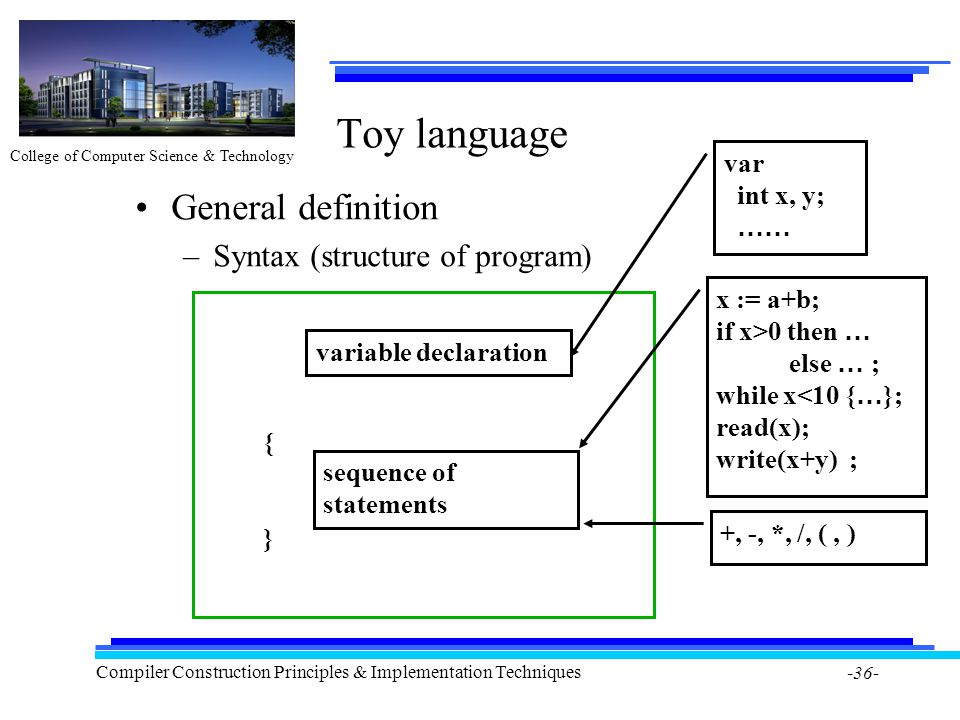 College of Computer Science & Technology Compiler Construction Principles & Implementation Techniques -36- Toy language General definition –Syntax (st