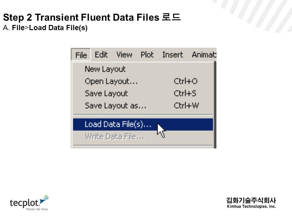 Step 2 Transient Fluent Data Files 로드 A. File>Load Data File(s)