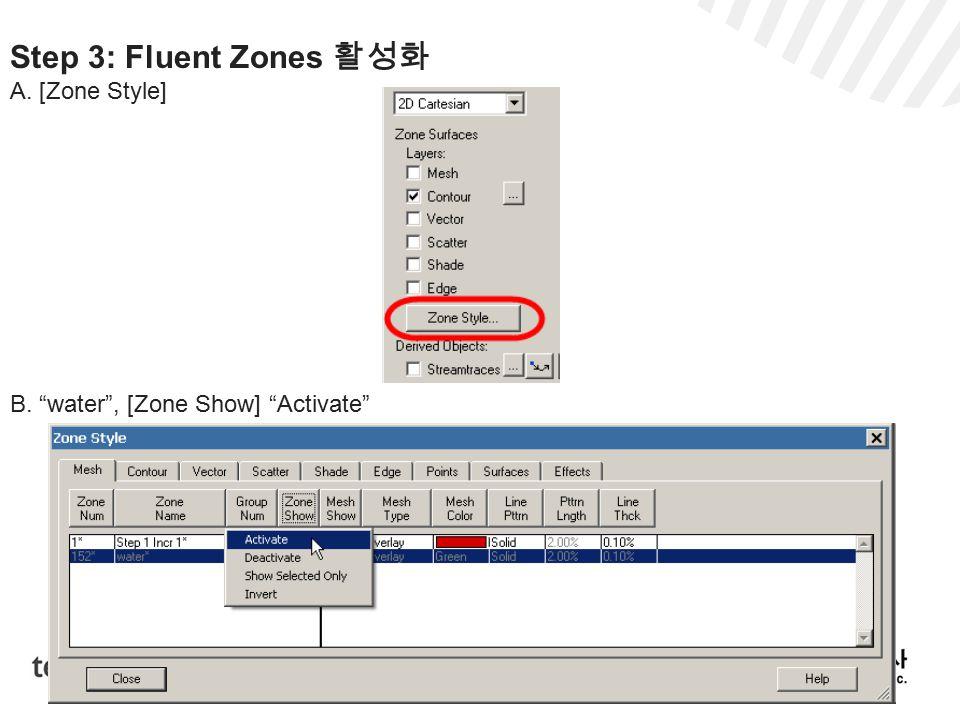 Step 3: Fluent Zones 활성화 A. [Zone Style] B. water , [Zone Show] Activate
