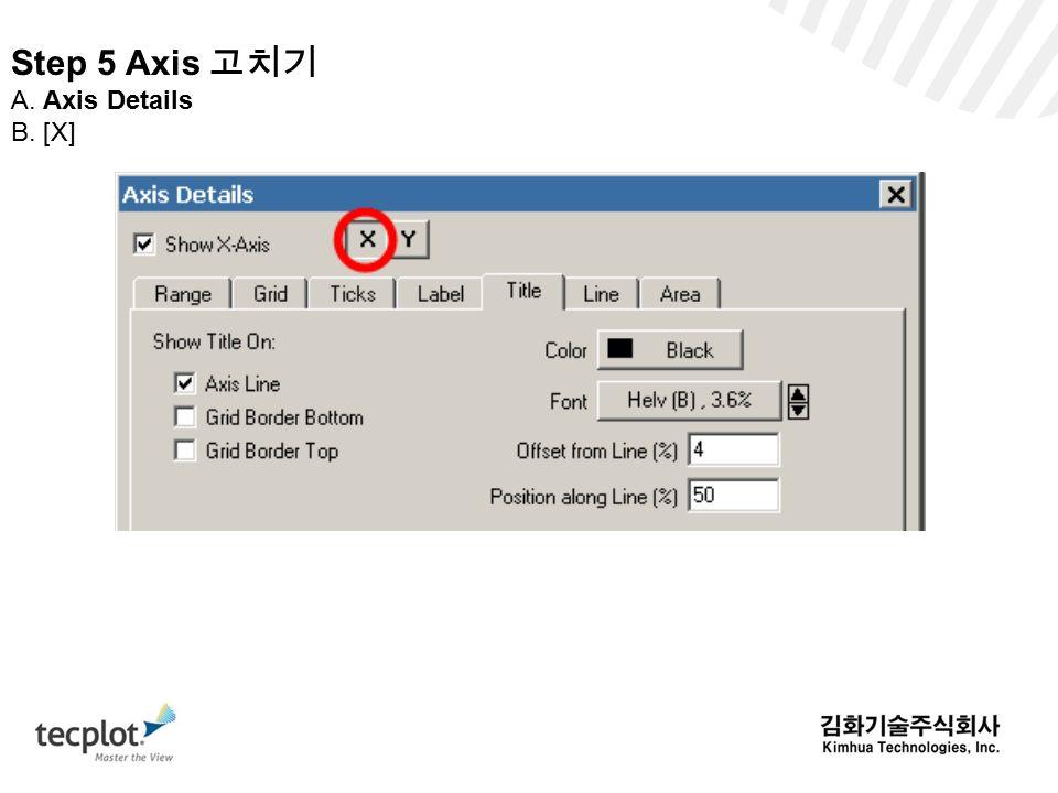 Step 5 Axis 고치기 A. Axis Details B. [X]