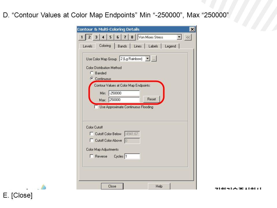 D. Contour Values at Color Map Endpoints Min -250000 , Max 250000 E. [Close]