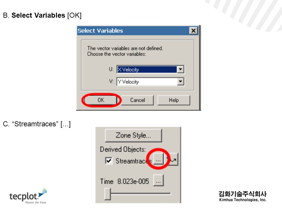 B. Select Variables [OK] C. Streamtraces [...]