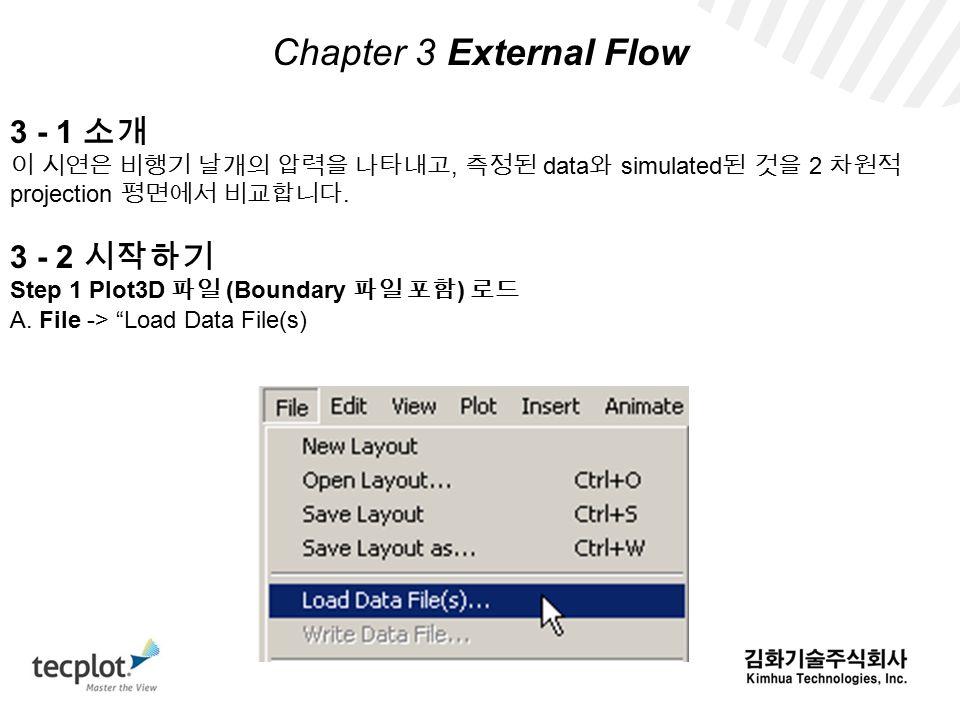 Chapter 3 External Flow 3 - 1 소개 이 시연은 비행기 날개의 압력을 나타내고, 측정된 data 와 simulated 된 것을 2 차원적 projection 평면에서 비교합니다.