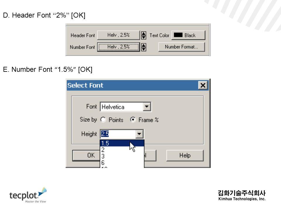D. Header Font 2% [OK] E. Number Font 1.5% [OK]