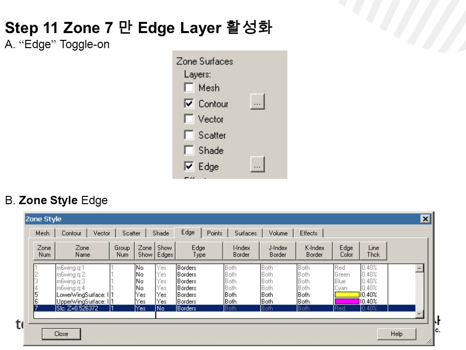 Step 11 Zone 7 만 Edge Layer 활성화 A. Edge Toggle-on B. Zone Style Edge