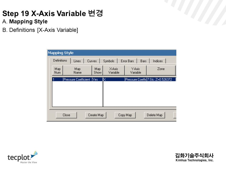Step 19 X-Axis Variable 변경 A. Mapping Style B. Definitions [X-Axis Variable]
