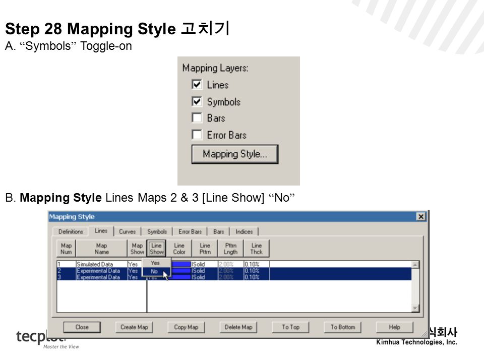 Step 28 Mapping Style 고치기 A. Symbols Toggle-on B.
