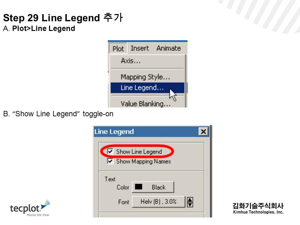 Step 29 Line Legend 추가 A. Plot>Line Legend B. Show Line Legend toggle-on