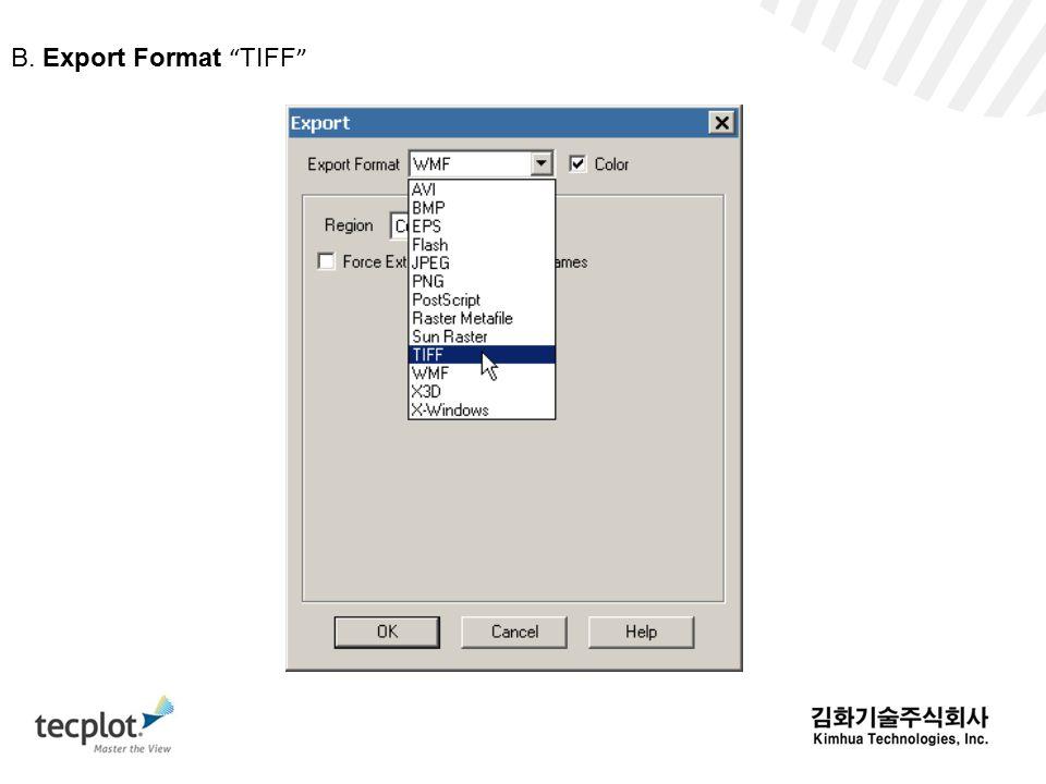 B. Export Format TIFF