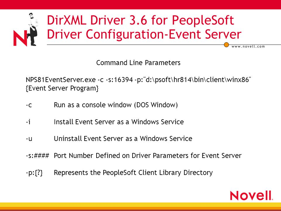 DirXML Driver 3.6 for PeopleSoft Driver Configuration-Event Server Command Line Parameters NPS81EventServer.exe -c -s:16394 -p: