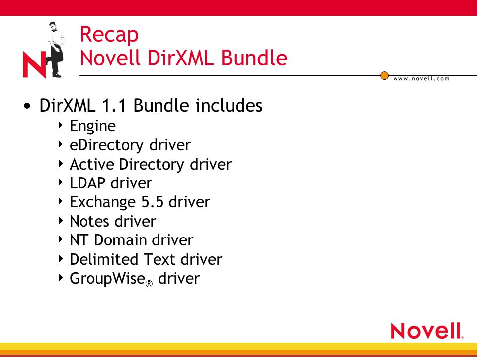Recap Novell DirXML Bundle DirXML 1.1 Bundle includes  Engine  eDirectory driver  Active Directory driver  LDAP driver  Exchange 5.5 driver  Not