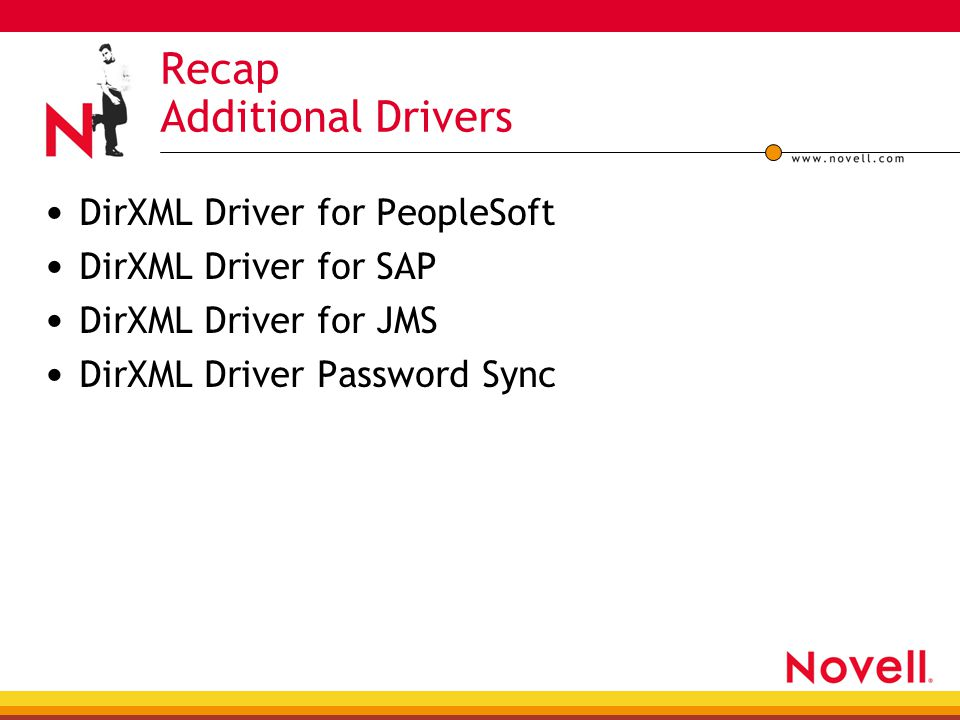 Recap Additional Drivers DirXML Driver for PeopleSoft DirXML Driver for SAP DirXML Driver for JMS DirXML Driver Password Sync