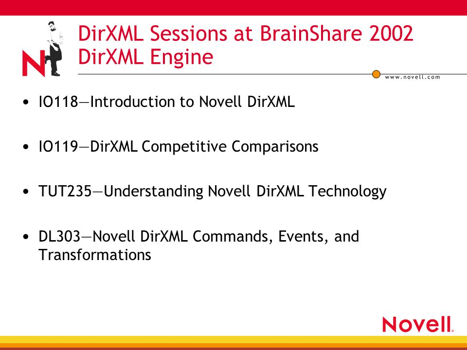 DirXML Sessions at BrainShare 2002 DirXML Engine IO118—Introduction to Novell DirXML IO119—DirXML Competitive Comparisons TUT235—Understanding Novell