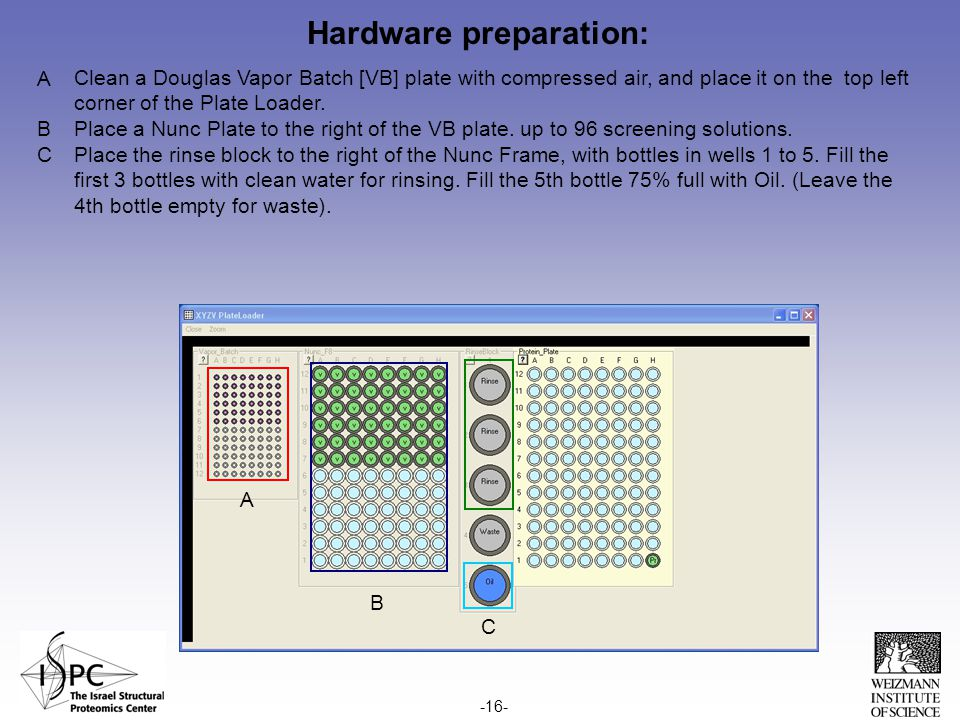 Hardware preparation: Clean a Douglas Vapor Batch [VB] plate with compressed air, and place it on the top left corner of the Plate Loader.