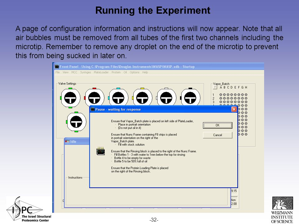 Running the Experiment A page of configuration information and instructions will now appear.