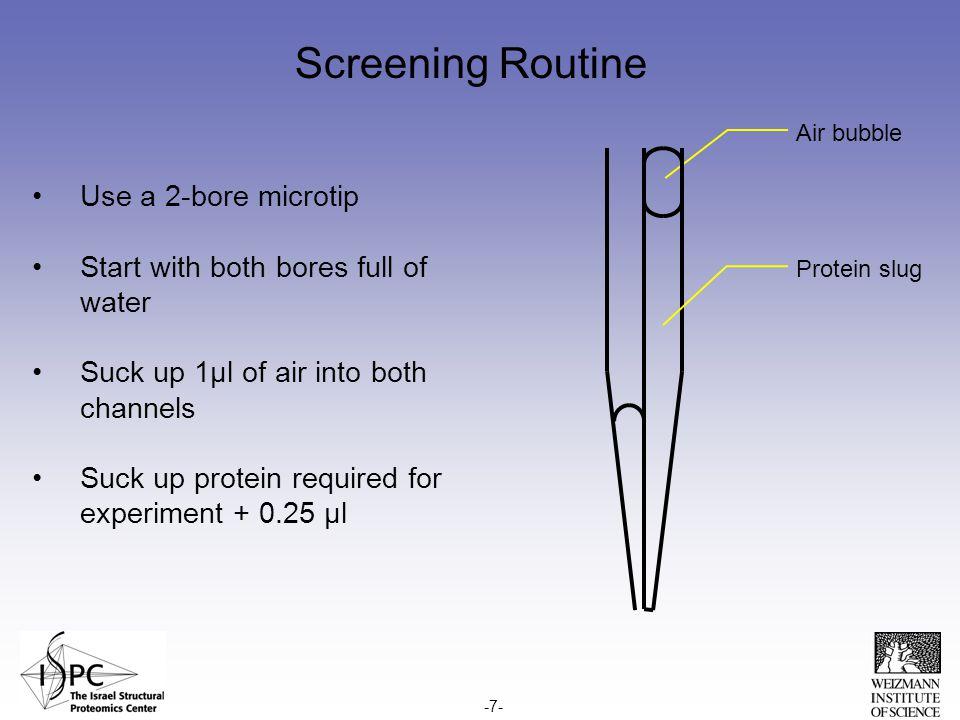Microbatch screening – dispensing cycle Screening solutions Target plate -8-