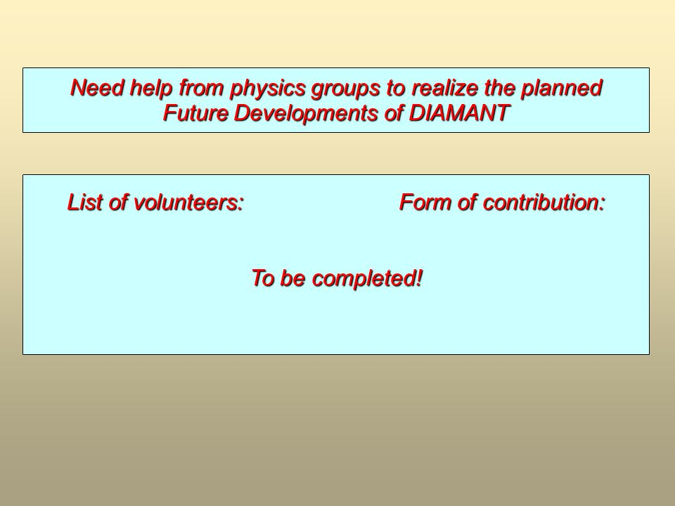 Need help from physics groups to realize the planned Future Developments of DIAMANT List of volunteers:Form of contribution: To be completed!