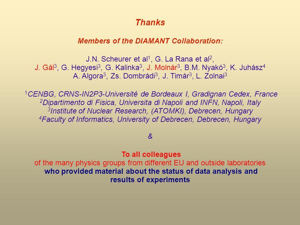 Thanks Members of the DIAMANT Collaboration: J.N. Scheurer et al 1, G.