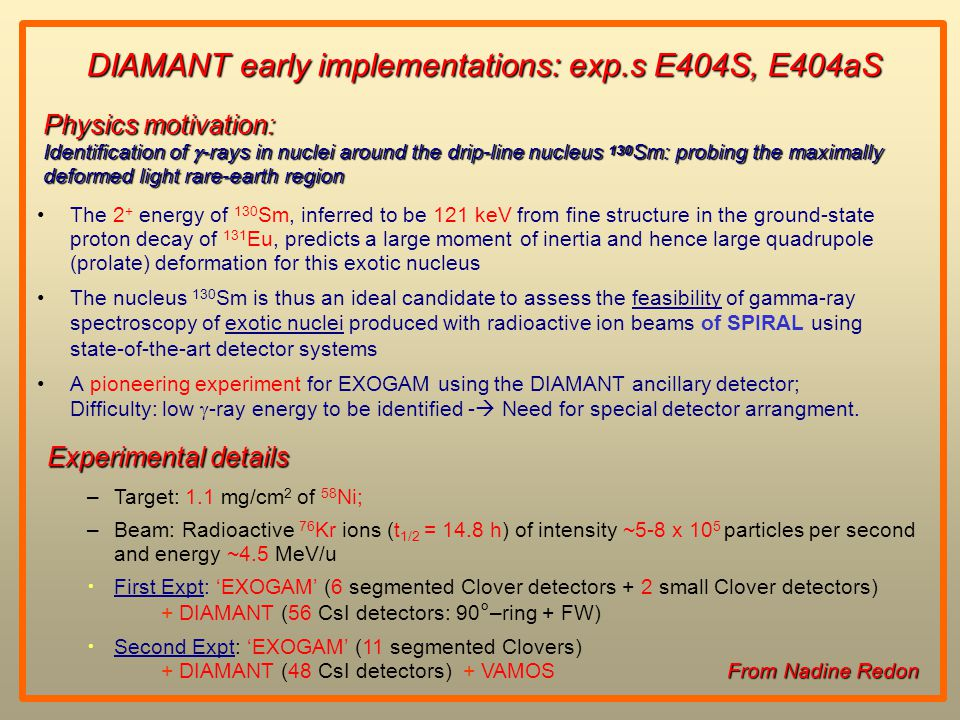 DIAMANT early implementations: exp.s E404S, E404aS The 2 + energy of 130 Sm, inferred to be 121 keV from fine structure in the ground-state proton decay of 131 Eu, predicts a large moment of inertia and hence large quadrupole (prolate) deformation for this exotic nucleus The nucleus 130 Sm is thus an ideal candidate to assess the feasibility of gamma-ray spectroscopy of exotic nuclei produced with radioactive ion beams of SPIRAL using state-of-the-art detector systems A pioneering experiment for EXOGAM using the DIAMANT ancillary detector; Difficulty: low  -ray energy to be identified -  Need for special detector arrangment.